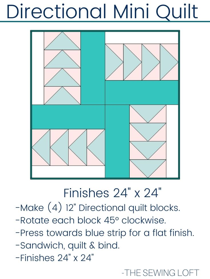 Practice your flying geese technique with this easy to make pattern by The Sewing Loft. The Directional Quilt Block is available in 2 sizes, is easy to make and requires no special tools.