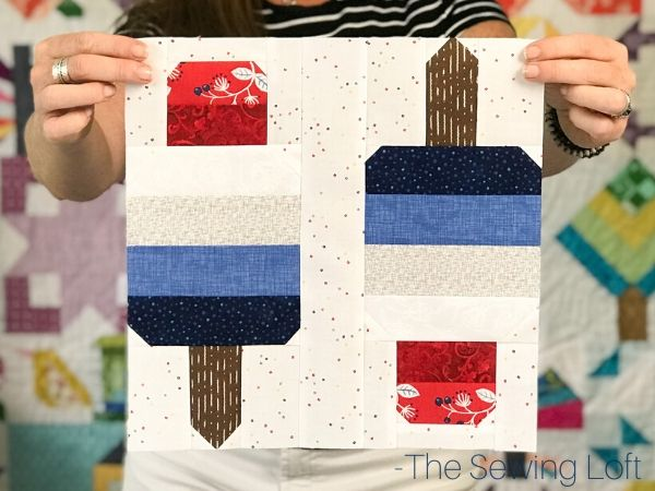 The patchwork Firecracker quilt block uses strip piecing and is easy to make. Pattern by The Sewing Loft and comes in 2 different sizes.