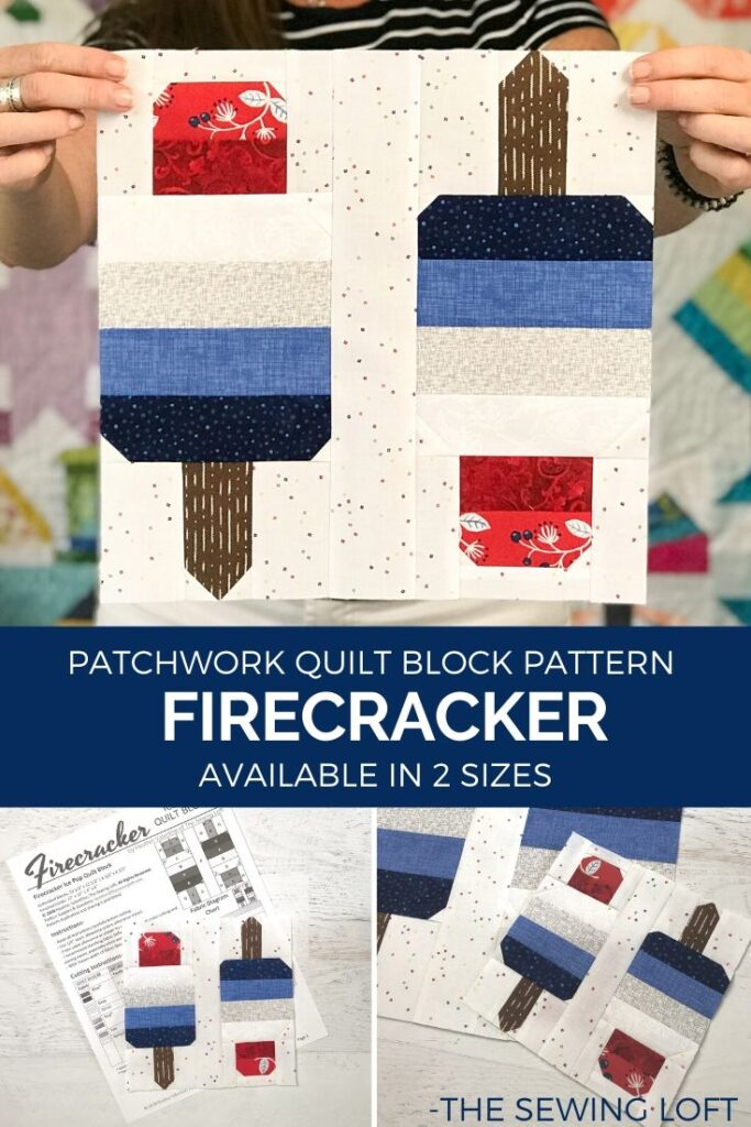 Using strip piecing, this Firecracker quilt block stitches together quickly. Pattern is by The Sewing Loft and available in 2 sizes.