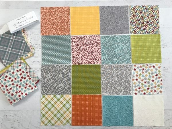 Fabric layout for the On Point Patchwork Pillow. Free project from The Sewing Loft & BabyLock