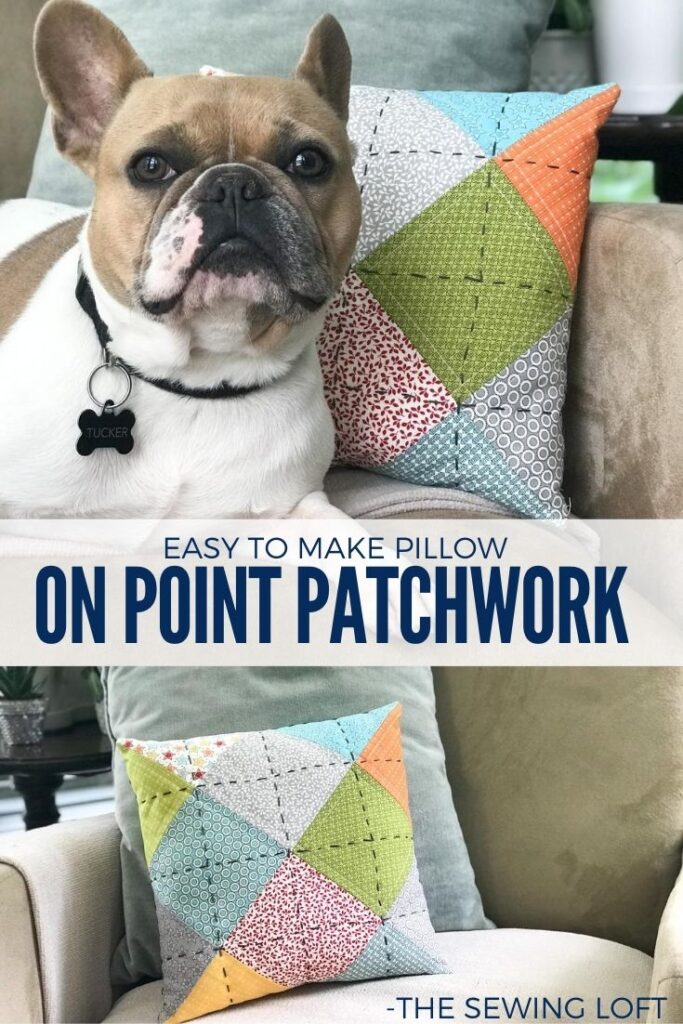 Learn how to make this beginner friendly free pattern. On Point Patchwork Pillow pattern is a free project by The Sewing Loft for Baby Lock