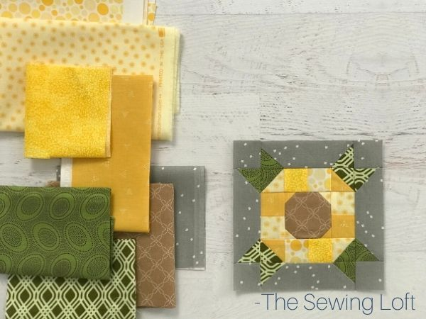 Sunflower quilt block fabric pull. Design is available in 2 finished sizes by The Sewing Loft