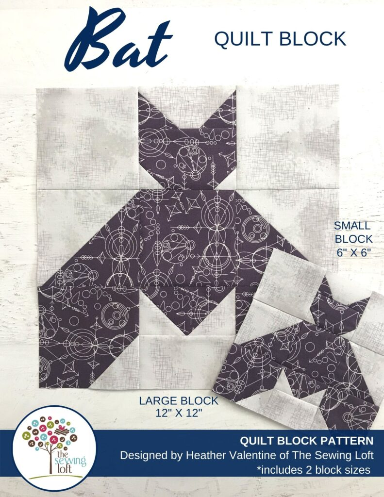 Halloween Bat Quilt Block Pattern | The Sewing Loft