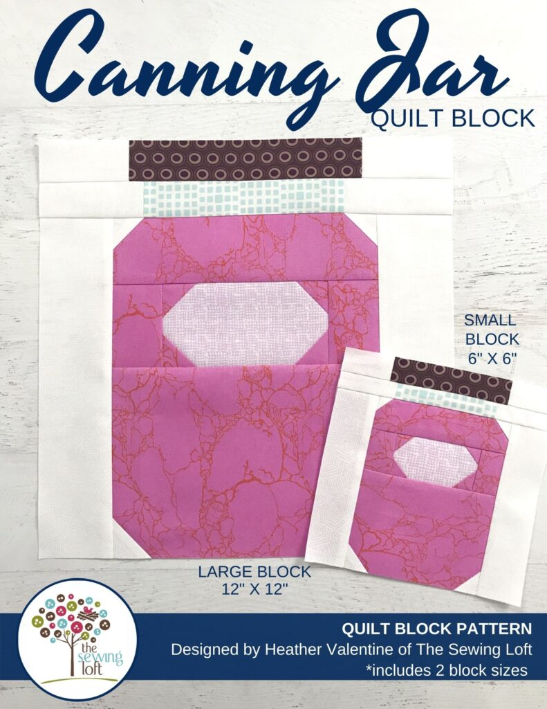 Add this fun, easy to make Canning Jar quilt block to your quilting library. Block is patchwork construction, comes in 2 sizes, and needs no special tools.