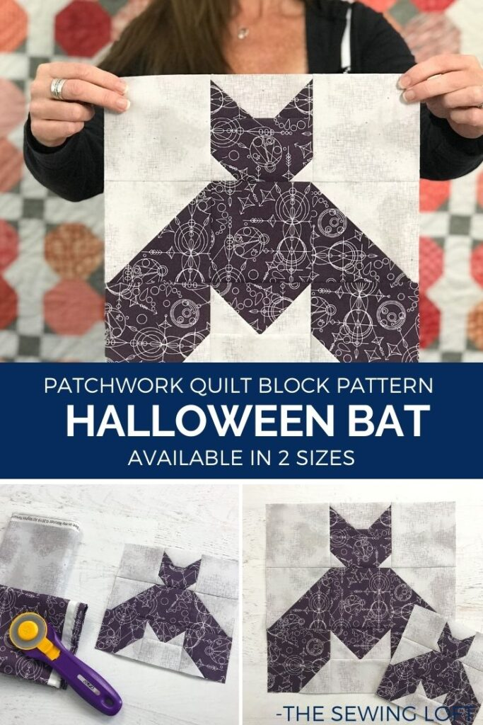 Add this Halloween inspired Bat quilt block to your Halloween themed quilting projects. Easy to make block is available in 2 finished sizes and is a patchwork construction. #quilting #HalloweenDIY #learntoquilt #blocks2quilt