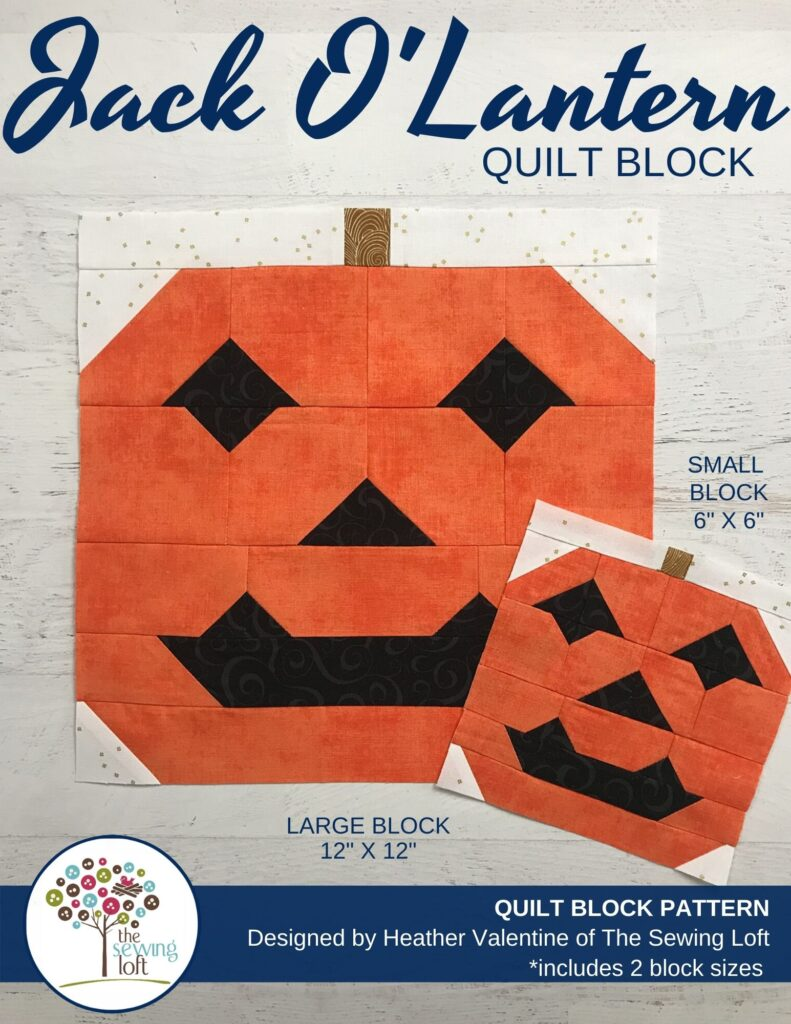 Add this fun, easy to make Jack O'Lantern quilt block to your next Halloween quilt. The block is made with patchwork construction, comes in 2 sizes, and needs no special tools.