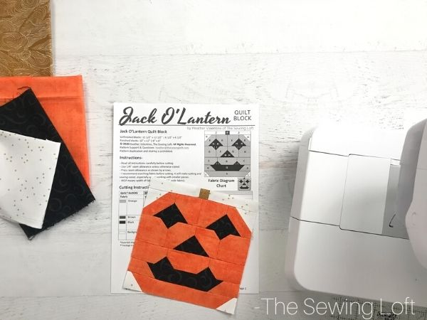 Fabric pull for the Jack O'lantern quilt block pattern.