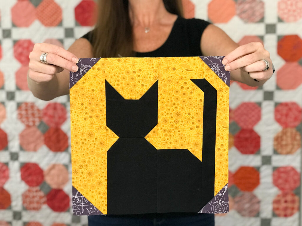 Add the Silhouette Moon quilt block to your Halloween themed quilting projects. Easy to make block is available in 2 finished sizes and is a patchwork construction. Designed by The Sewing Loft