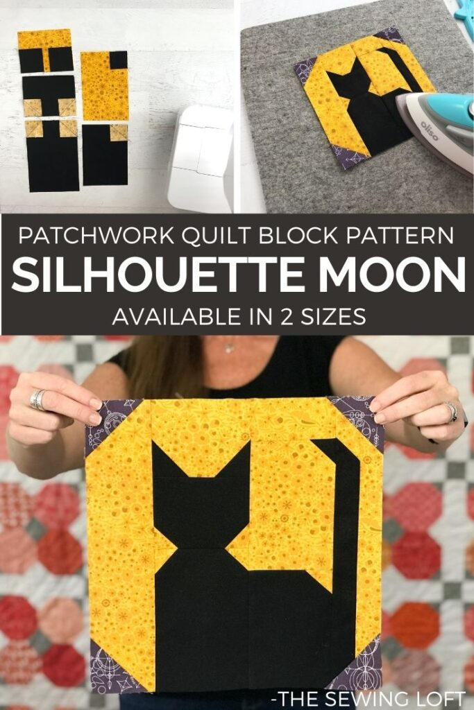 Silhouette Moon Quilt Block Pattern. Available in 2 sizes, easy construction and includes a video assembly. By The Sewing Loft #learntoquilt #quiltblock #blocks2quilt