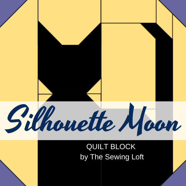 Silhouette Moon Quilt Block Pattern. Available in 2 sizes, easy construction and includes a video assembly. By The Sewing Loft