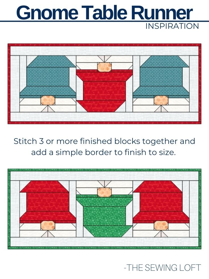 Turn your Gnome quilt block into a festive table runner for the season. Easy to make pattern from The Sewing Loft.