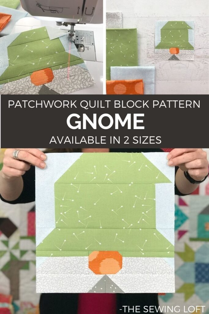 Patchwork Gnome quilt block is perfect for stitching up your leftover scraps. Easy to make, comes in 2 sizes and totally adorable!