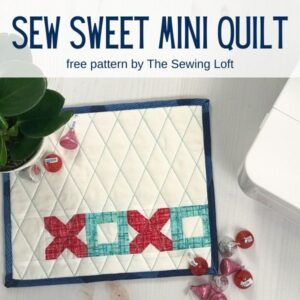 Love how easy this Sew Sweet mini quilt pattern was to make. Free quilting pattern from The Sewing Loft.