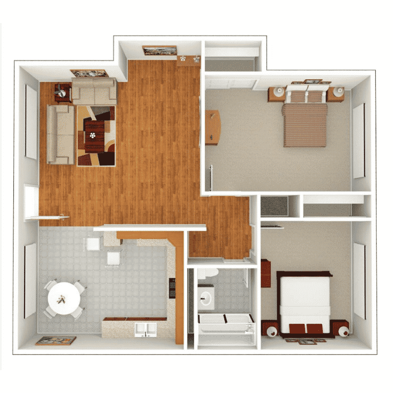 2 BED 1 BATH 845 Sq. Floor plan