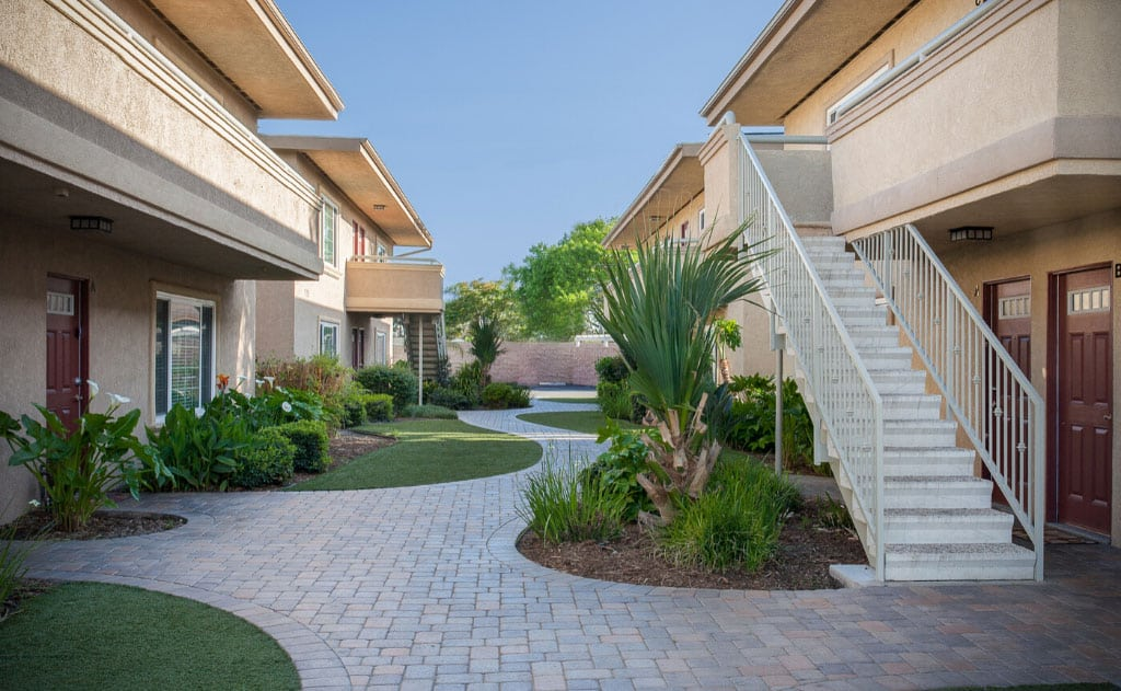 Paved garden pathways with landscaping
