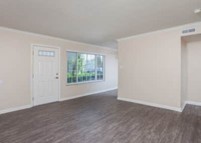 Empty living room with window and wood-style flooring