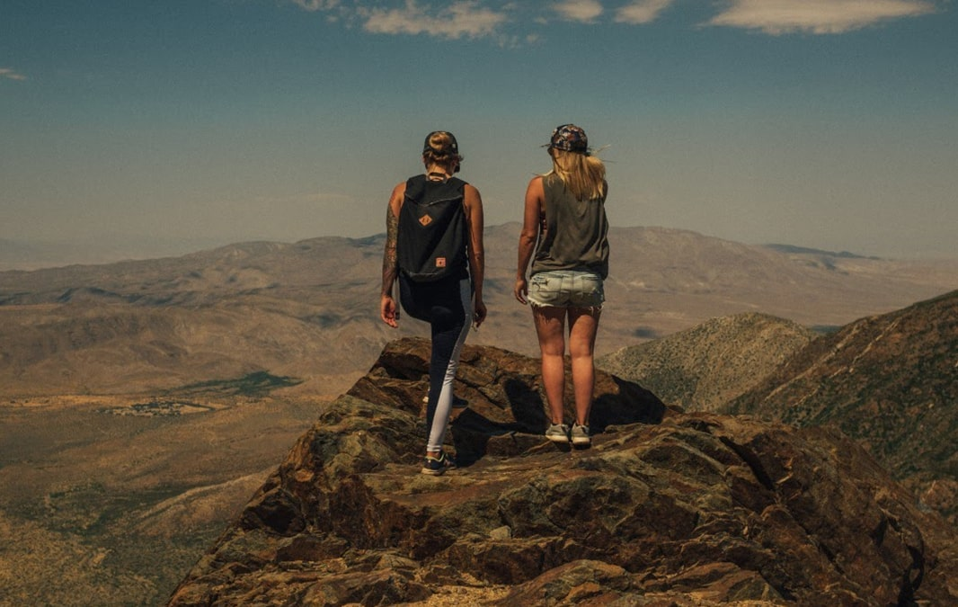 Two woman hiking