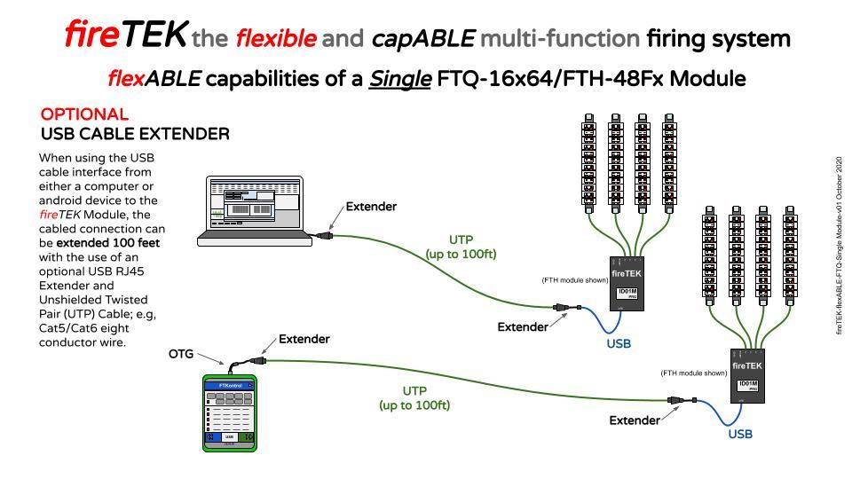 fireTEK wireless firing system option usb cable extender