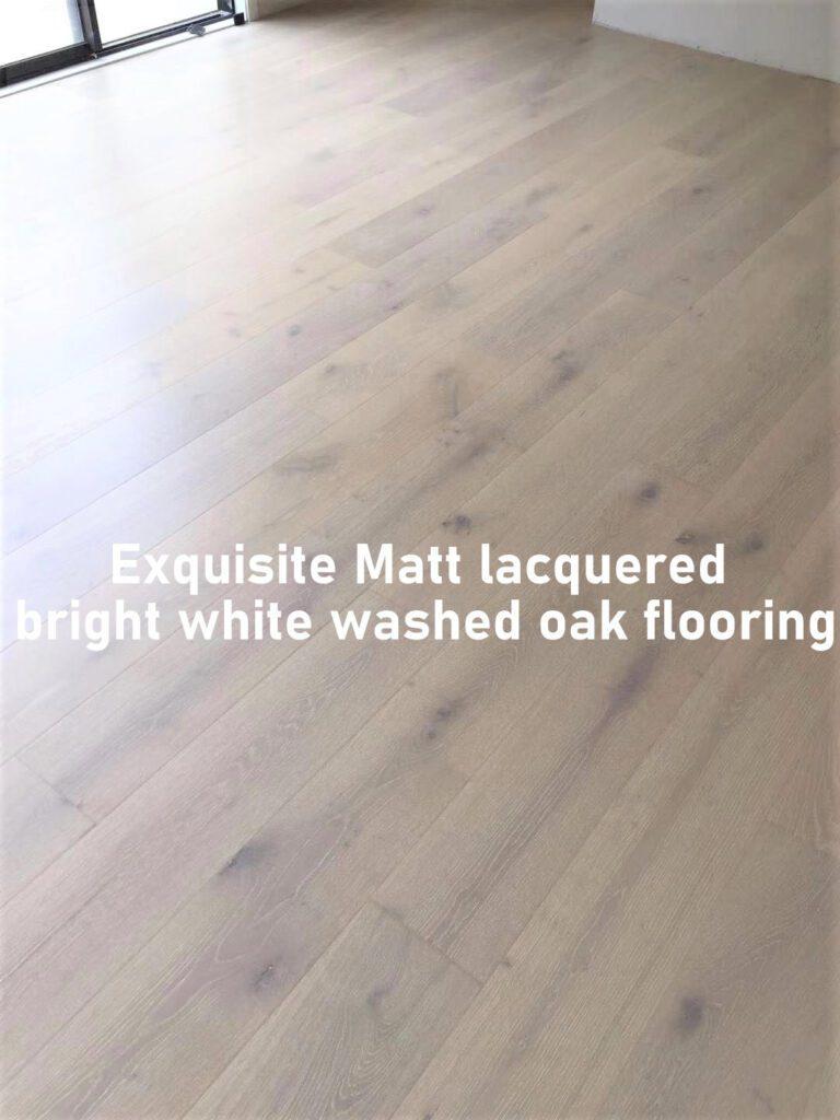 Exquisite Matt lacquered bright white washed oak flooring