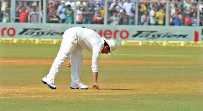Sachin paying respect to the 22 yards in his final test match