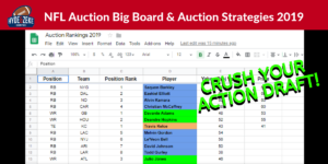 NFL Auction Big Board and Auction Strategies 2019