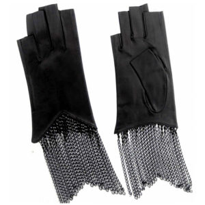 Fingerless chain fringe gloves