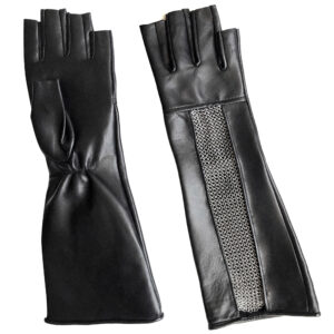 leather chain mesh fingerless gloves