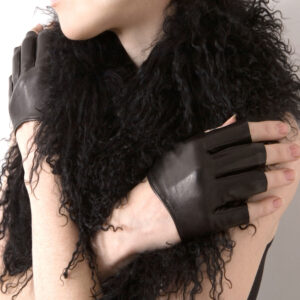 leather fingerless cropped gloves