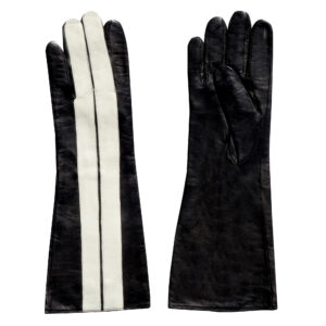 long leather racing stripe gloves for men