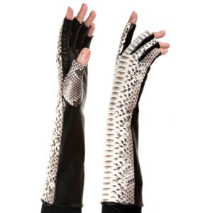 black and white fingerless python and leather gloves