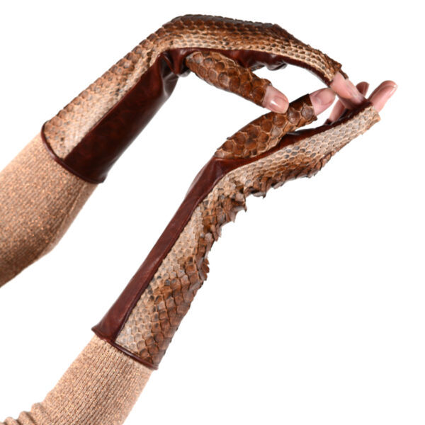 cognac fingerless python and leather gloves