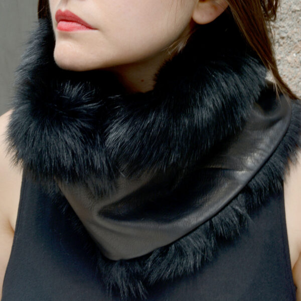 faux fur leather circular scarf black