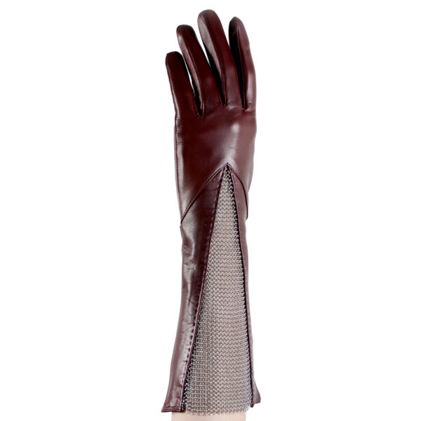 leather chain mesh gusset gloves burgundy
