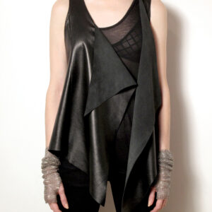 leather chain mesh vest front