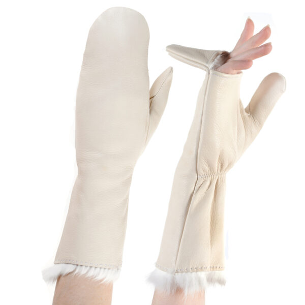 leather pop top faux fur mittens cream