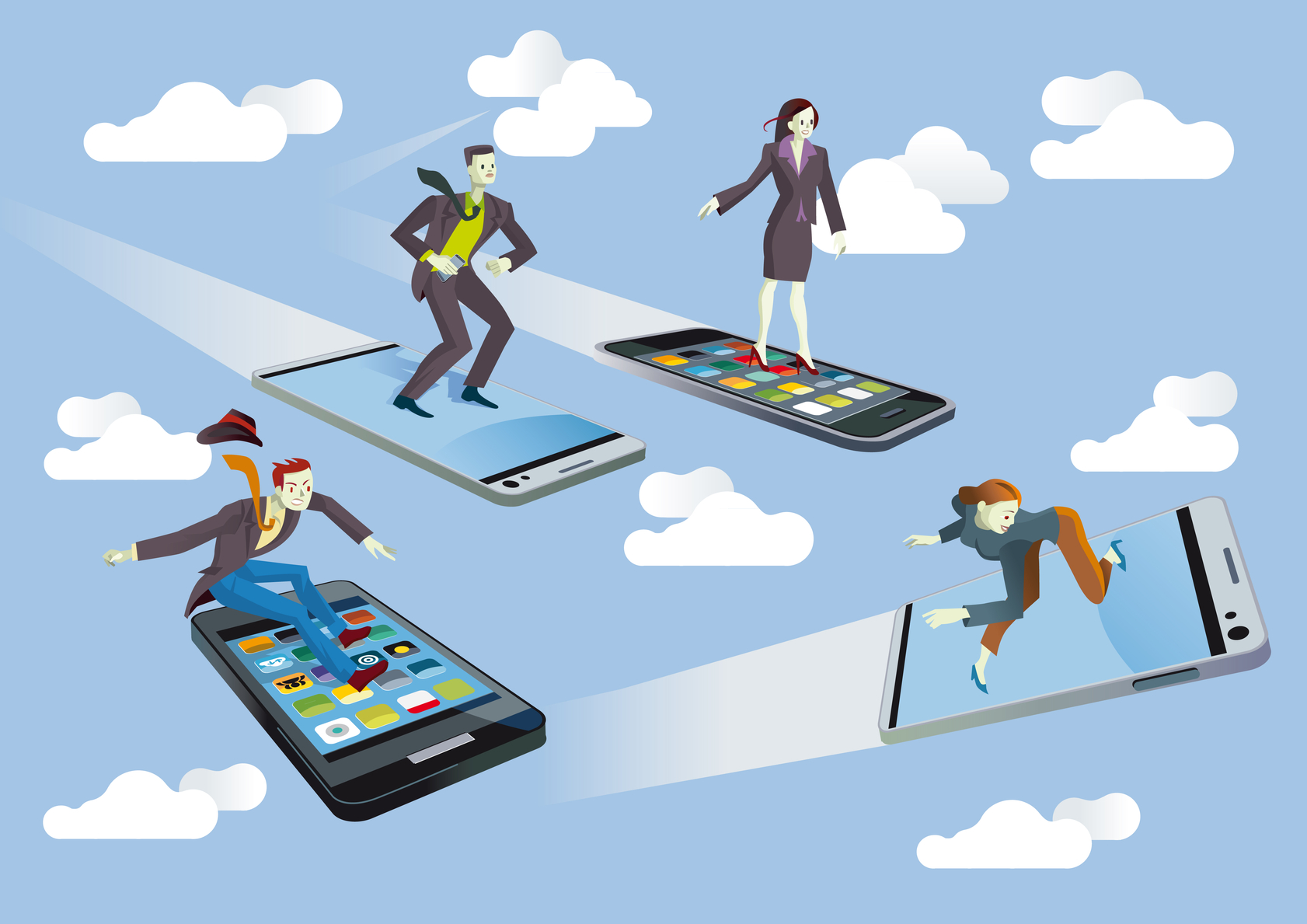Business people with Flying smartphones