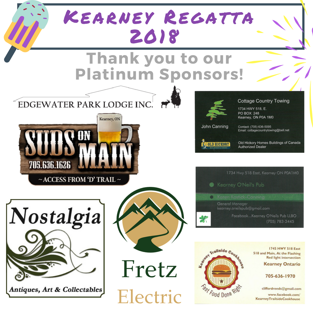 Edgewater Park Lodge Inc.; Suds on Main; Nostalgia Antiques; Fretz Electric; Kearney Trailside Cookhouse; Kearney O'Neil's Pub; Cottage Country Towing