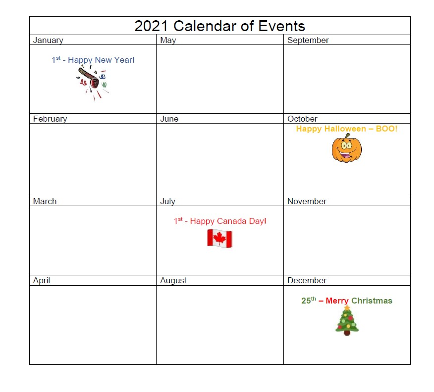 2021 Calendar of events - no events listed due to Covid-19