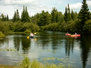 People canoeing on Himbury Lake