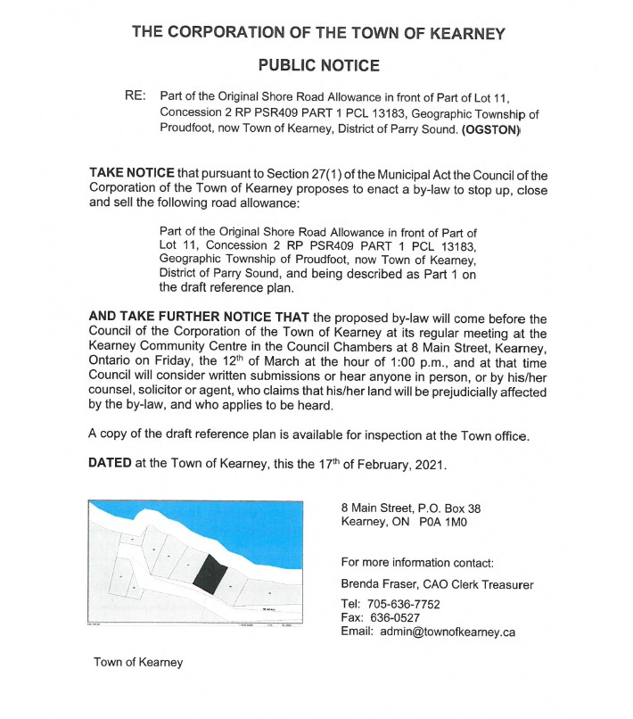 Public notice announcement for the purchase of a shore road allowance in front of part lot 11, concession 2, RP PSR409 Part 1 PCL 13183
