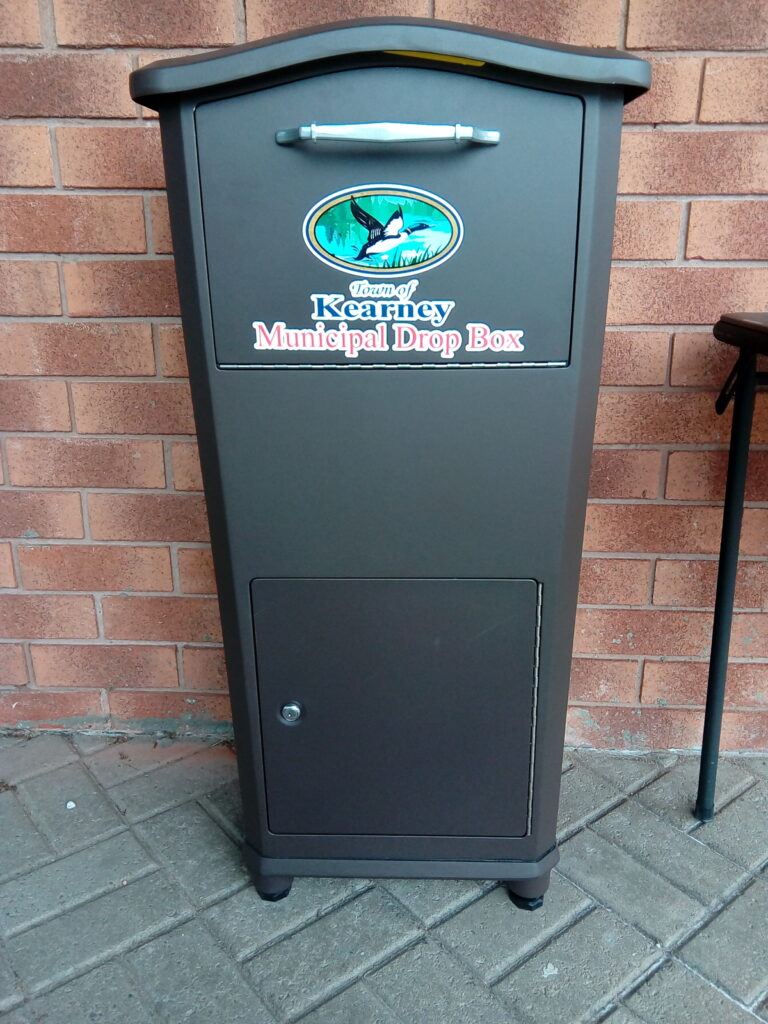 A drop box is now available at the town office by the main double doors for off-hour deposits of information.