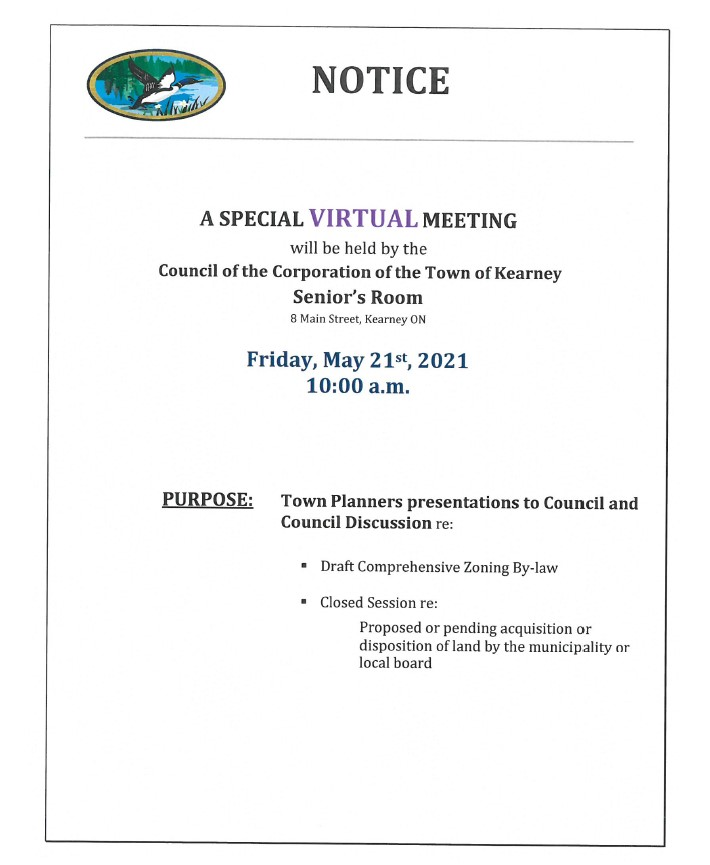 Special Meeting Notice for Draft Comprehensive Zoning By-Law and a closed session for a proposed or pending disposition of land by the municipality or local board