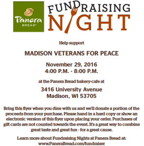 Chapter 25 fundraiser at Panera Bread, 3416 University Ave., Madison, on Tuesday, November 29 from 4-8 pm. Up to 20% of the proceeds of sales made with the attached flyer will be donated to Chapter 25. Bring the flyer for us to get proceeds of their sales.