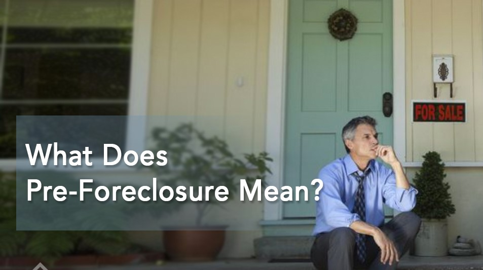 sad looking man sits forlonly on his steps of his house while he thinks about his foreclosure. There is a text superimposed on the picture that says what does pre-foreclosure mean