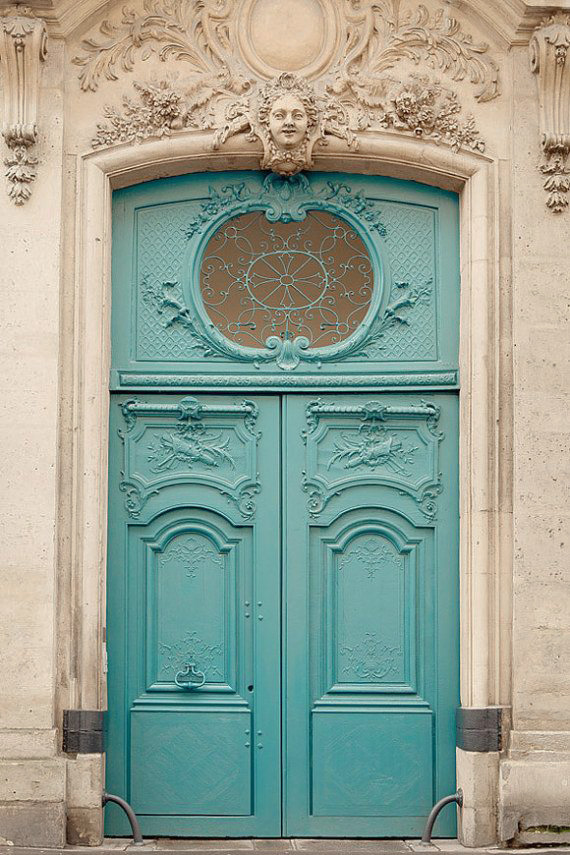 aqua color old world door