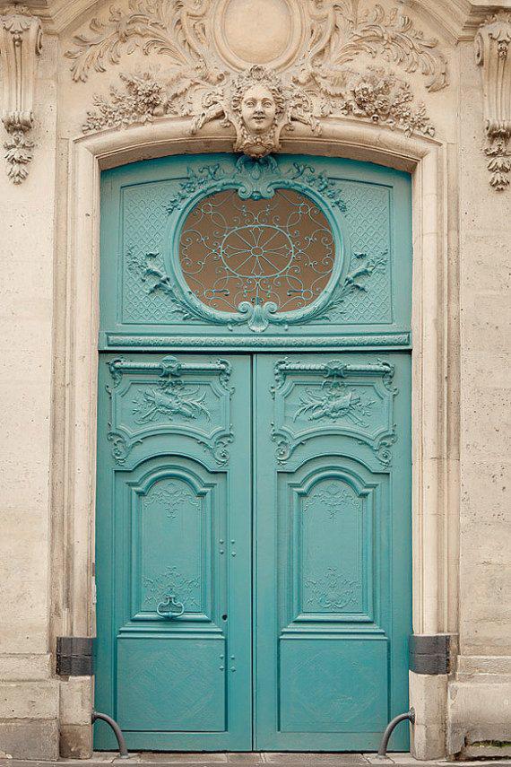aqua color old world door