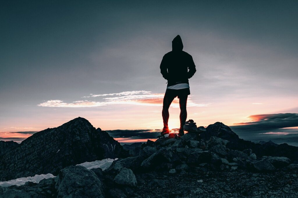 hiker, hiking, sunrise