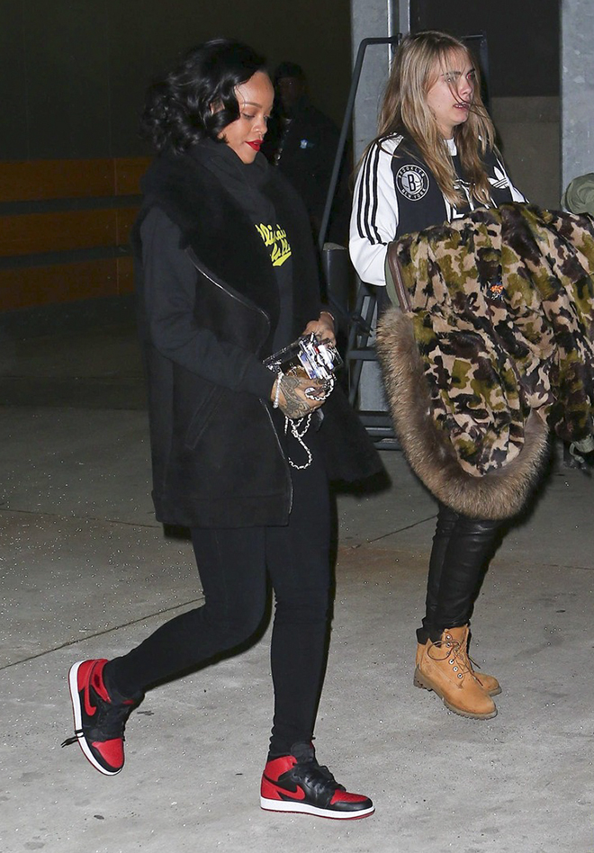Exclusive - Gal Pals Rihanna & Cara Delevingne Attend A Brooklyn Nets Game