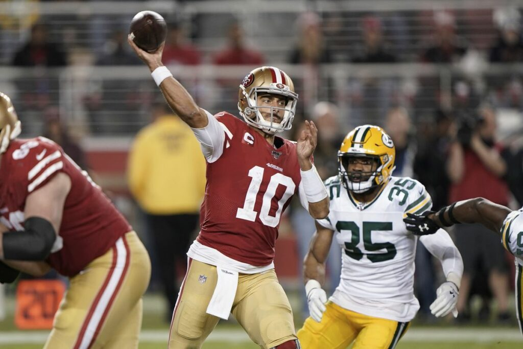 Jimmy G from the San Francisco 49ers during the game against the Green Bay Packers
