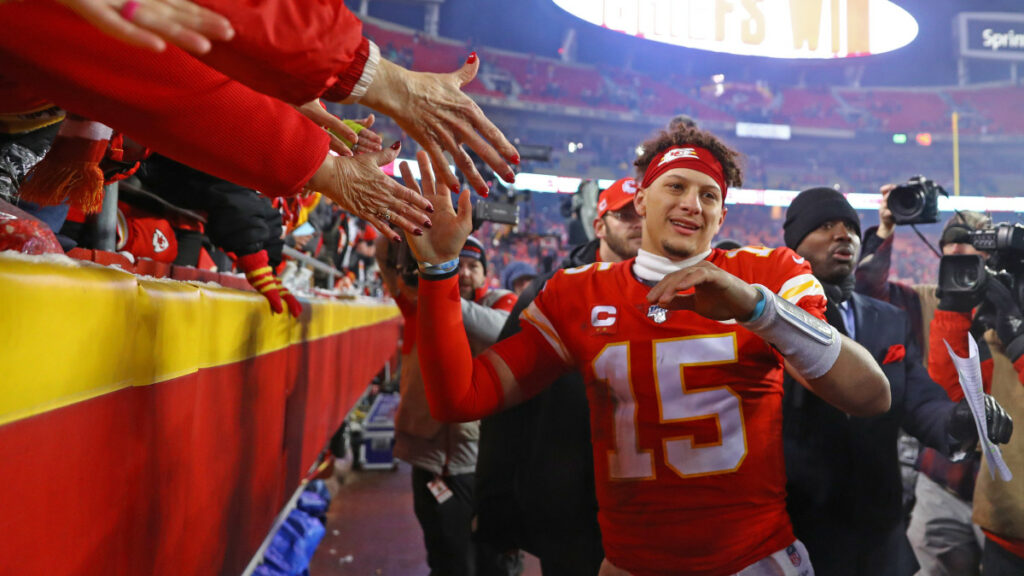 Patrick Mahomes from the Kansas City Chiefs celebrating with fans